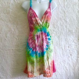 Pastel Rainbow Tie Dye Strappy Dress M
